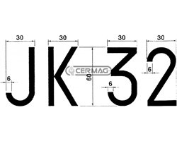 Numbers And Lettres Adhesives For Plates And Replaced - Temporary Panels Number 3