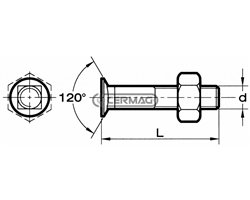 Plough Bolts With Reduced-Size 120° Countersunk Head - Square Shoulder - Steel 8.8 Metric Thread - Complete With Nuts Right Thre
