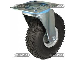 Rubber Wheels On Steel Rims With Support