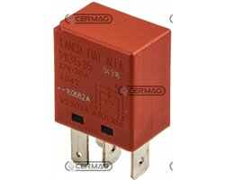 Micro Relay On- Off- 4 Pins 12V-30A Red Cap Voltage 12 V Current Intensity 30 A