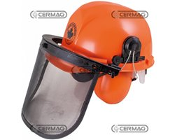 Helmet For Forestry Work Complete With Ear Muffs And Gauze Visor