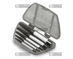 Set Of Tapered Extractors In Alloyed Steel For Broken Screws And Studs Comprising 5 Pcs