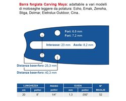 """Bar Forged Carving 20 cm - 8 """"Pitch 1/4"""" Thickness 1.3 Mm - .050 """"52 Maglie"""